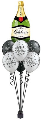 Birthday Elegant Black Champagne Balloon Bouquet of 7