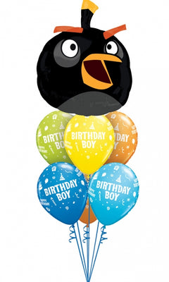 Angry Birds Black Bird Birthday Balloon Bouquet 1