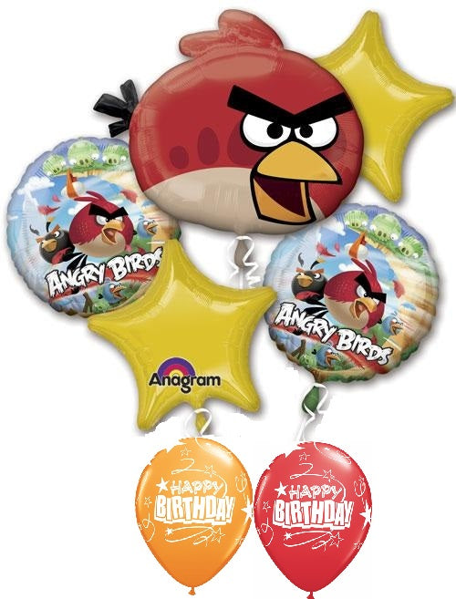 Angry Birds Red Bird Birthday Balloon Bouquet 6