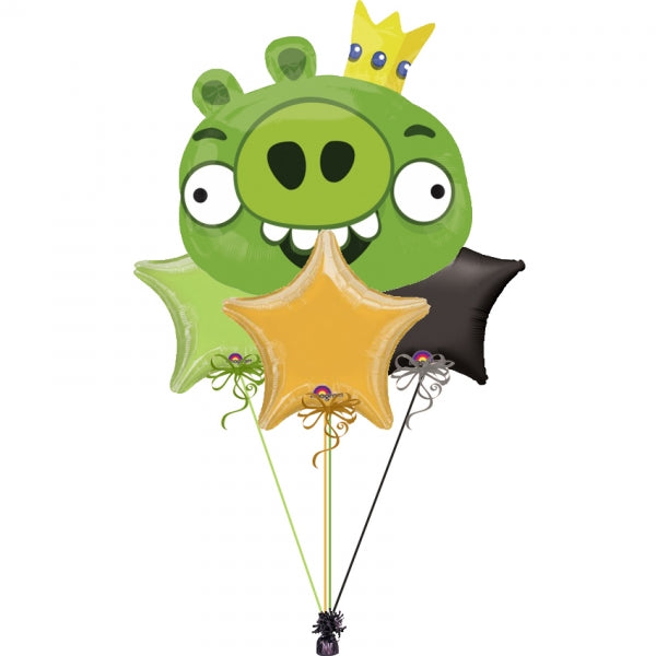 Angry Birds Green King Pig Balloon Bouquet 1
