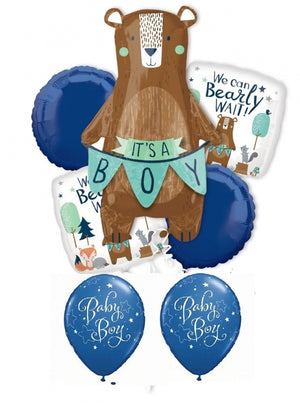 Baby Boy Bear Balloon Bouquet