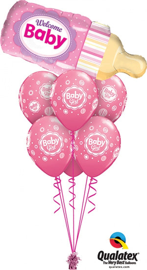 Baby Pink Bottle Balloon Bouquet 1