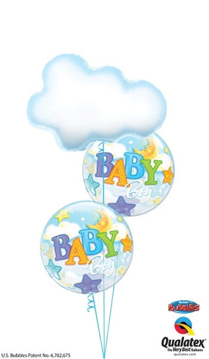Baby Boy Cloud Stars and Moon Bubbles Balloon Bouquet 5