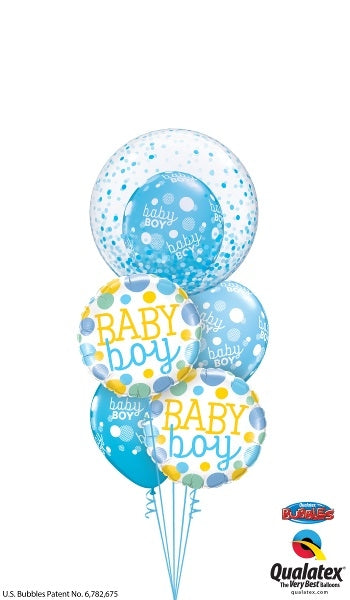 Baby Boy Bubbles Dots Balloon Bouquet