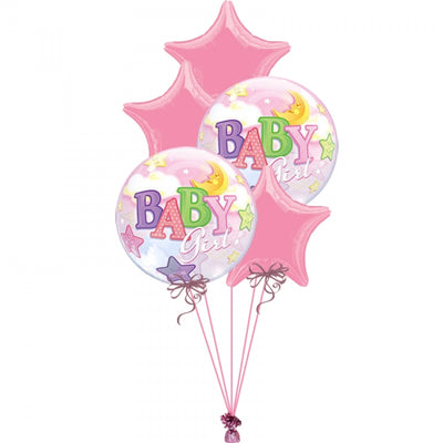 Baby Girl Stars and Moon Bubbles Balloon Bouquet 9