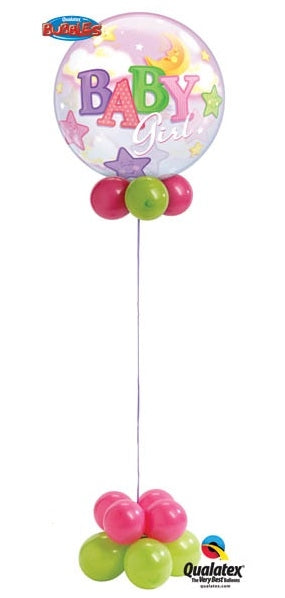 Baby Girl Stars and Moon Bubbles Balloon Centerpiece  3