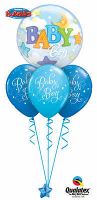 Baby Boy Stars and Moon Bubbles Balloon Bouquet 4