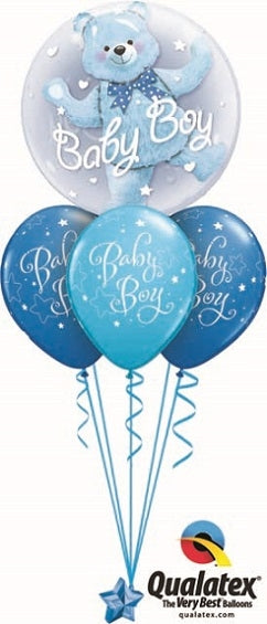 Baby Boy Blue Bear Double Bubble Balloon Bouquet 2