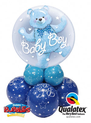 Baby Boy Blue Bear Double Bubble Balloon Centerpiece