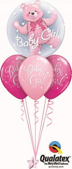 Baby Girl Pink Bear Double Bubble Balloon Bouquet 1