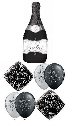 Birthday Elegant Black Champagne Balloon Bouquet 3
