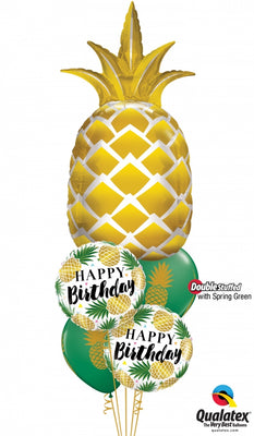Pineapple Gold Birthday Balloon Bouquet