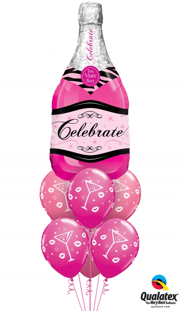 Birthday Pink Champagne Balloon Bouquet 1