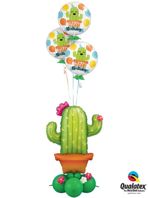 Cactus Birthday Balloon Bouquet Stand Up