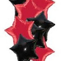 Black and Red Foil Stars Balloon Bouquet