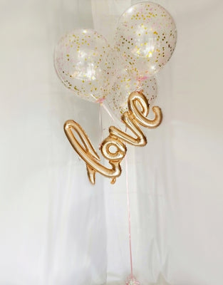 Script Gold Love Confetti Balloon Bouquet