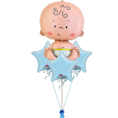 Cute Baby Blue Stars Balloon Bouquet