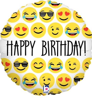 Emoticon Emoji Happy Birthday Foil Balloon