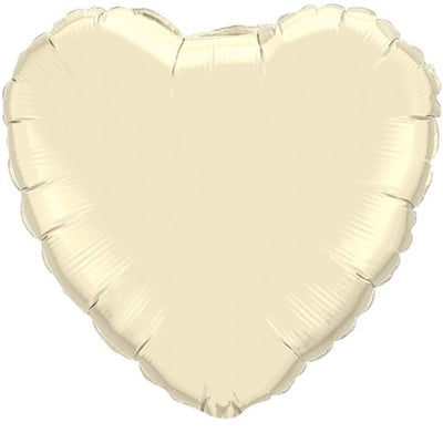 18 inch Ivory Heart Foil Balloon with Helium