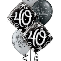 40th Elegant Birthday Balloon Bouquet 2