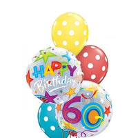 60th Birthday Bubbles Balloon Bouquet 2