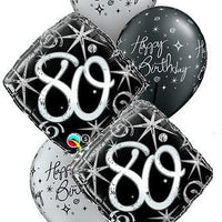 80th Elegant Birthday Balloon Bouquet