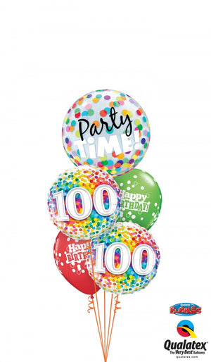 100th Birthday Rainbow Party Time Balloon Bouquet