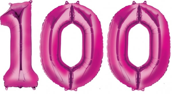 100 Hot Pink Jumbo Balloon Numbers Helium filled with Weights