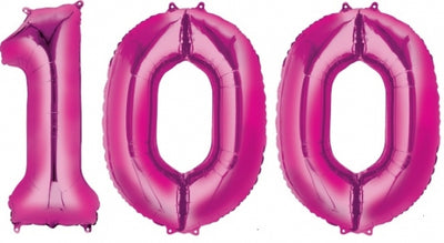 100 Hot Pink Jumbo Balloon Numbers