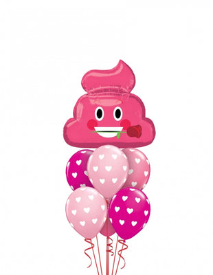 Emoticon Emoji Pink Poop Love Balloon Bouquet