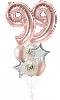 Pick An Age Rose Gold Number Birthday Balloon Bouquet