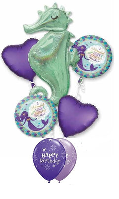 Sea Creatures Seahorse Birthday Balloon Bouquet 9