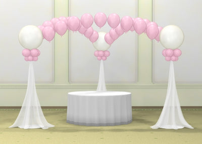 Wedding Cake Table Columns Tulle and Pearl Arches