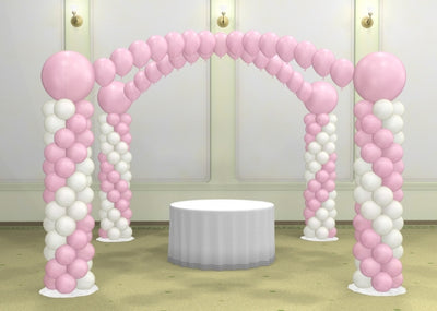 Wedding Cake Table Spiral Columns and Pearl Arches