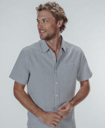 Freshwater Short Sleeve Button Up Shirt: White Crosshatch
