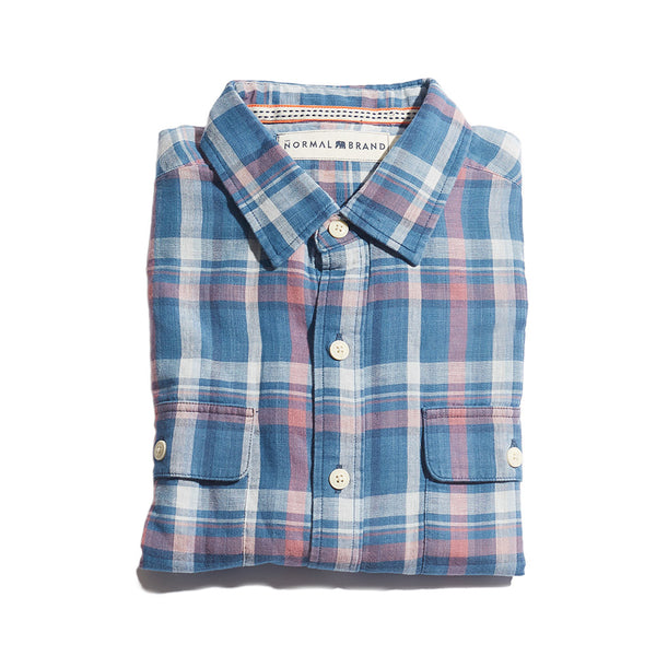 Double Cloth Indigo Check Button Up Shirt
