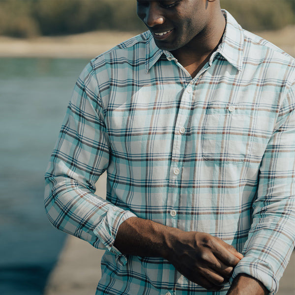 Clayton Twill Button Up Shirt - Pacific