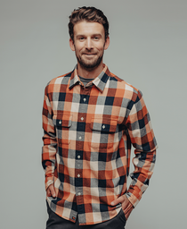 Boone Heavy Brushed Twill Overshirt: Orange Plaid Boone