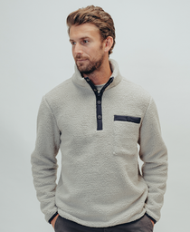 Henry Sherpa Pullover: Stone