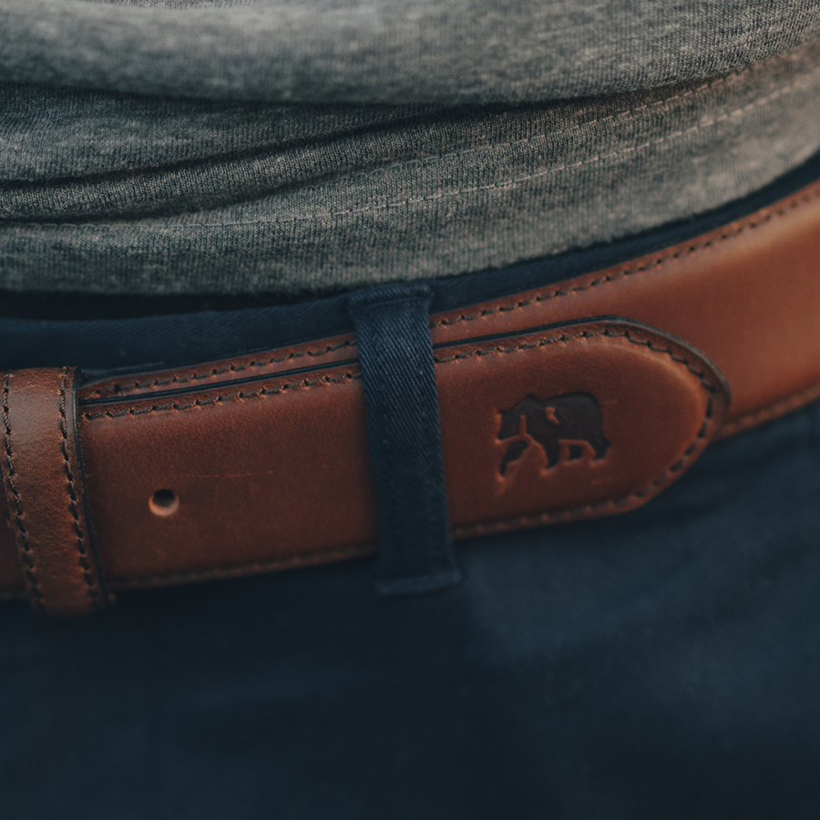 Classic Stitched Leather Belt - Brown