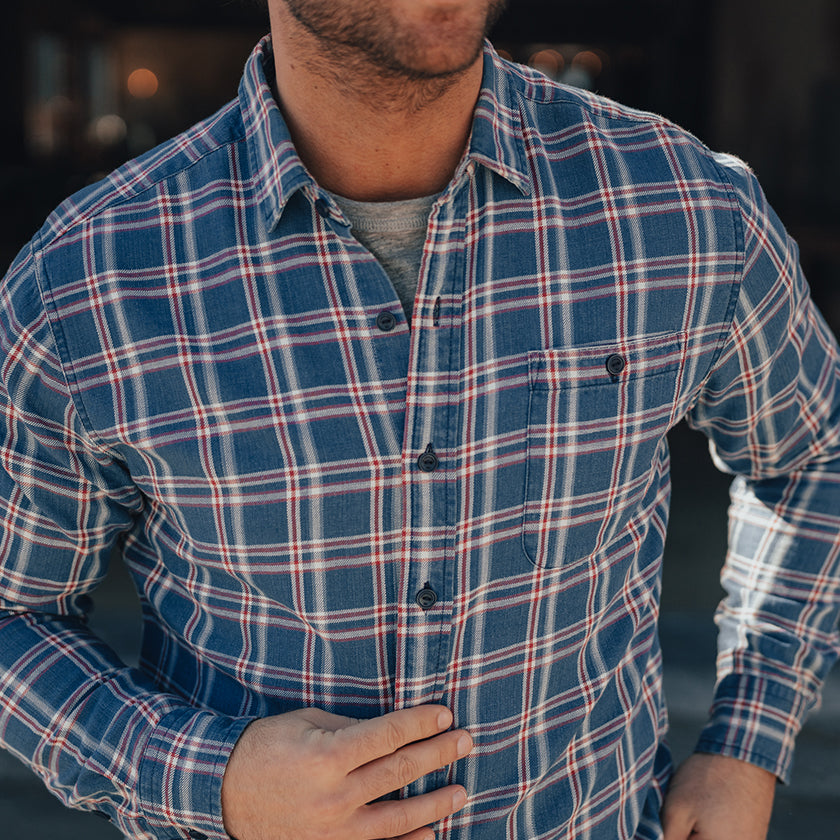 Frankfort Indigo Twill Button Up Shirt