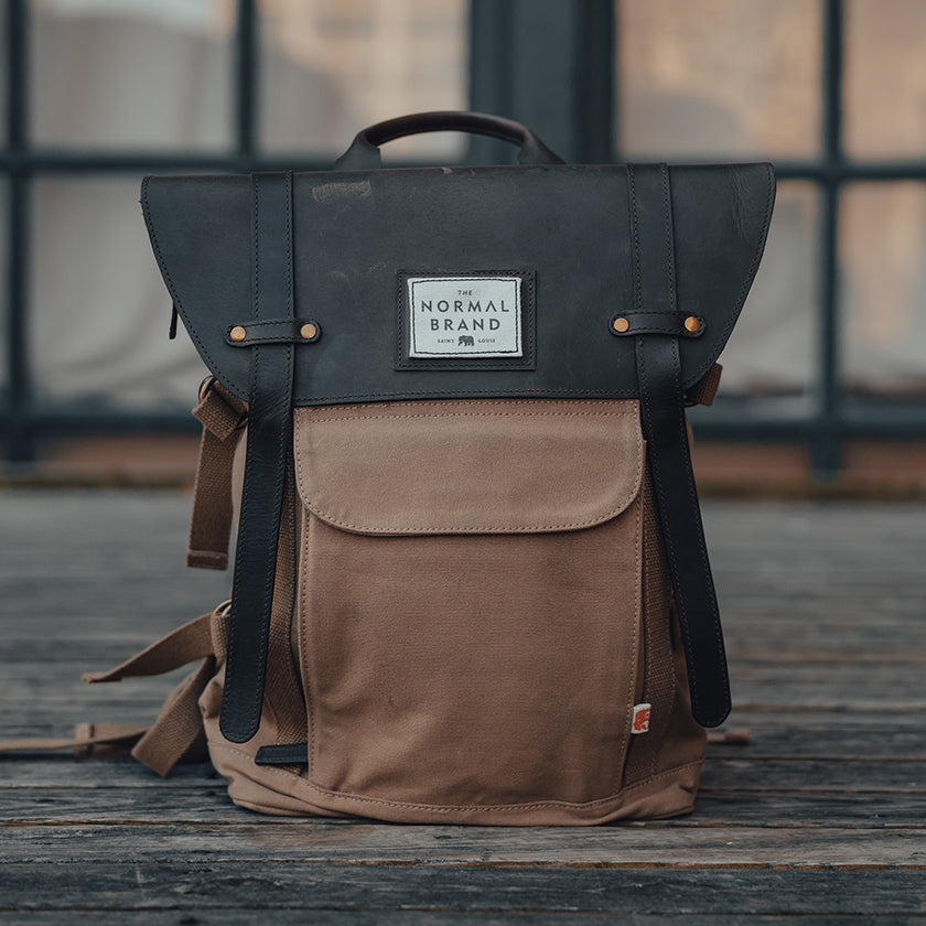 Top Side Leather Backpack - Tan