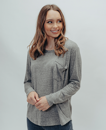Long Sleeve Shirttail Pocket Tee: Grey