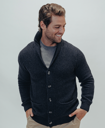 Robert Button Front Cardigan: Navy