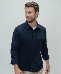 Boone Heavy Brushed Twill Overshirt: Navy