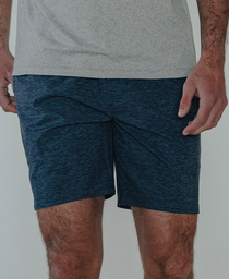 Heathered Hybrid Shorts: Harbor Blue