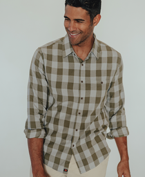 Jackson Button Up Shirt: Blue Plaid Jackson