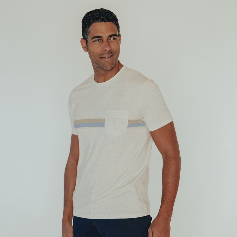 Chest Striped Pocket T-Shirt