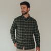 Space Dyed Button Down Shirt - Green Plaid