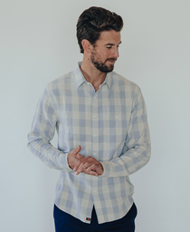 Jackson Button Up Shirt: Grey Plaid Jackson